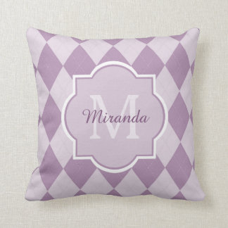 Preppy Light Purple Argyle Girly Monogram and Name Cushion