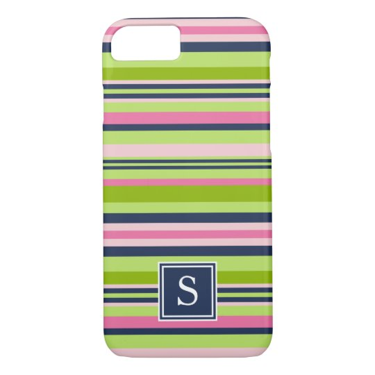 Preppy Lime, Pink and Navy Stripe Monogram iPhone 7 Case