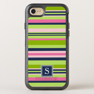 Preppy Lime, Pink and Navy Stripe Monogram OtterBox Symmetry iPhone 8/7 Case