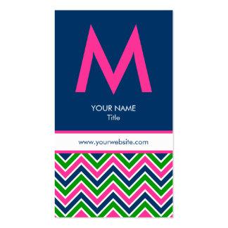 Preppy Monogram Chevron Business Card - Pink/Navy