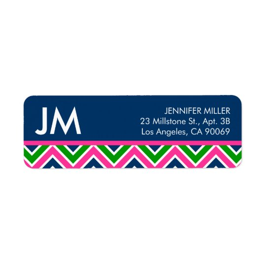 Preppy Monogram Chevron Return Address Label -Blue