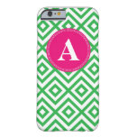 Preppy Monogram Pattern Pink and Green iPhone 6 ca