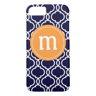 Preppy Moroccan Custom Monogram in Navy & Orange iPhone 8/7 Case