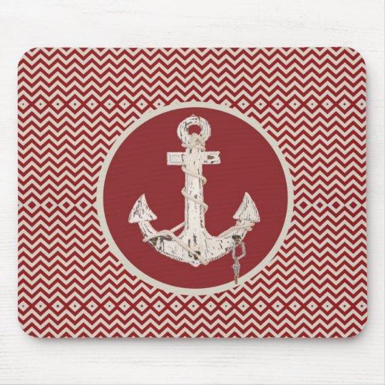 Preppy Nautical burgundy chevron beach anchor Mouse Mat