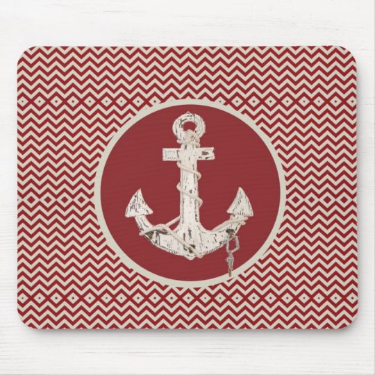 Preppy Nautical burgundy chevron beach anchor Mouse Pad