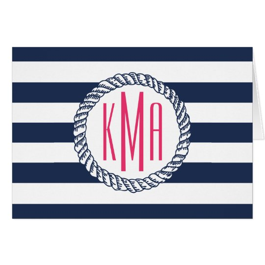Preppy Nautical Navy & White Stripe Pink Monogram Card