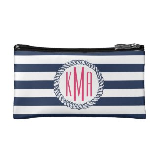 Preppy Nautical Navy & White Stripe Pink Monogram Cosmetic Bag