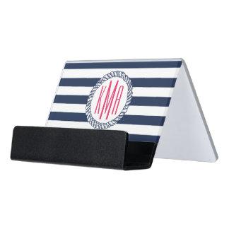 Preppy Nautical Navy & White Stripe Pink Monogram Desk Business Card Holder