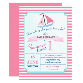 Preppy Nautical Pink Sail Away Birthday for Girl Card