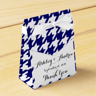Preppy Navy Blue and White Houndstooth Pattern Favour Box