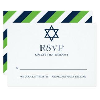 Preppy Navy Blue Bar Mitzvah RSVP Card