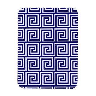 Preppy Navy Blue White Greek Key Pattern Rectangular Photo Magnet
