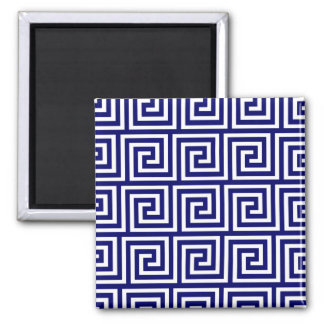 Preppy Navy Blue White Greek Key Pattern Square Magnet