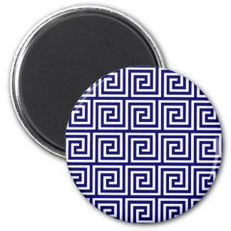 Preppy Navy Blue White Greek Key Pattern Refrigerator Magnets
