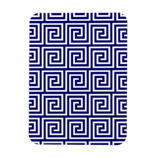 Preppy Navy Blue White Greek Key Pattern Vinyl Magnets