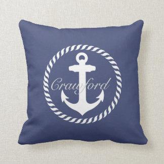Preppy Navy Blue & White Nautical Anchor Monogram Cushion