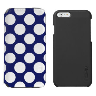 Preppy Navy Blue White Polka Dots Pattern Incipio Watson™ iPhone 6 Wallet Case