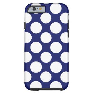 Preppy Navy Blue White Polka Dots Pattern Tough iPhone 6 Case