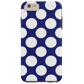 Preppy Navy Blue White Polka Dots Pattern Tough iPhone 6 Plus Case