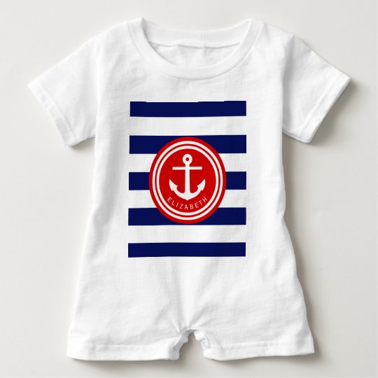 Preppy Navy Nautical Stripe Anchor Monogram on Red Baby Bodysuit