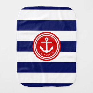 Preppy Navy Nautical Stripe Anchor Monogram on Red Baby Burp Cloth