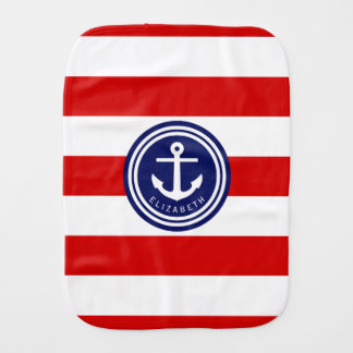 Preppy Navy Nautical Stripe Anchor Monogram on Red Baby Burp Cloths