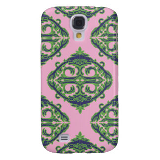 Preppy Pale Pink, Green & Blue Damask Galaxy S4 Case