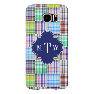 Preppy Patchwork Madras Navy Quatrefoil  Monogram Samsung Galaxy S6 Cases