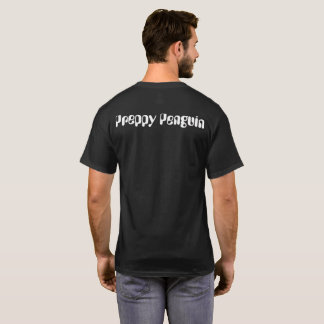 Preppy Penguin Asian Scenery Black T-Shirt