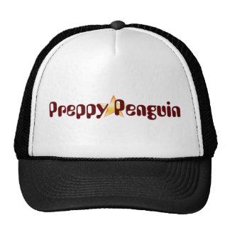 Preppy Penguin Black and White Trucker Hat