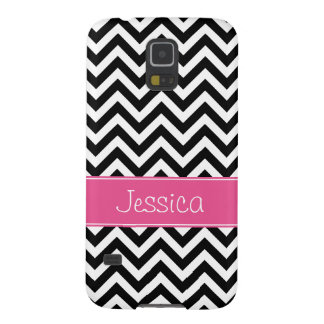 Preppy Pink and Black Chevron Pattern Personalized Case For Galaxy S5