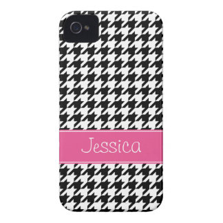 Preppy Pink and Black Houndstooth Personalized iPhone 4 Cover