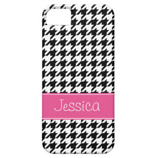 Preppy Pink and Black Houndstooth Personalized iPhone 5 Cover