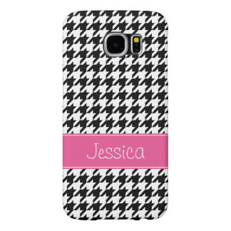 Preppy Pink and Black Houndstooth Personalized Samsung Galaxy S6 Cases