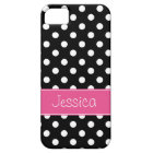 Preppy Pink and Black Polka Dots Personalised Case For The iPhone 5