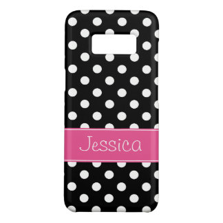 Preppy Pink and Black Polka Dots Personalized Case-Mate Samsung Galaxy S8 Case