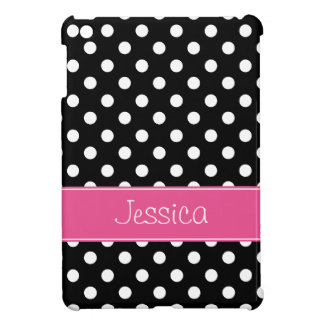 Preppy Pink and Black Polka Dots Personalized iPad Mini Cases