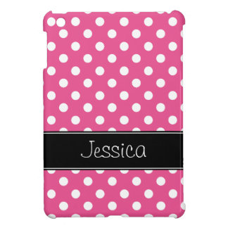 Preppy Pink and Black Polka Dots Personalized iPad Mini Covers