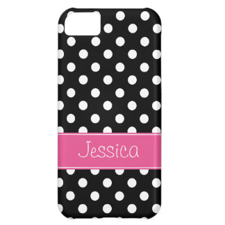 Preppy Pink and Black Polka Dots Personalized iPhone 5C Case