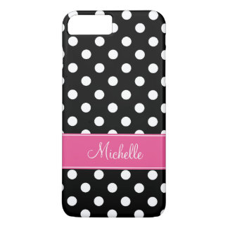 Preppy Pink and Black Polka Dots Personalized iPhone 7 Plus Case
