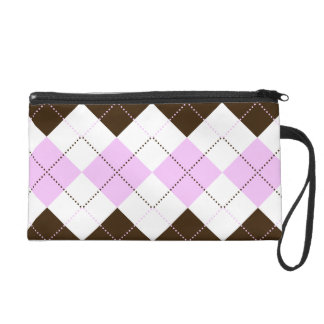 Preppy Pink and Brown Checker Patterns Wristlet Purse