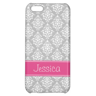Preppy Pink and Gray Damask Personalized iPhone 5C Cover