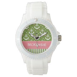 Preppy Pink and Green Anchor Nautical Watch