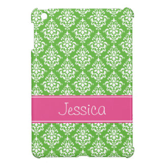 Preppy Pink and Green Damask Personalized iPad Mini Cover