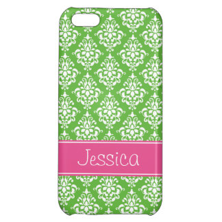Preppy Pink and Green Damask Personalized iPhone 5C Cover