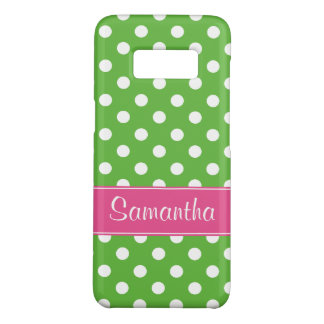Preppy Pink and Green Polka Dots Personalized Case-Mate Samsung Galaxy S8 Case