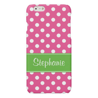 Preppy Pink and Green Polka Dots Personalized iPhone 6 Plus Case