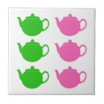 Preppy Pink and Green Teapots Small Square Tile
