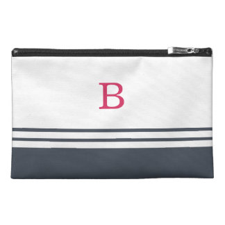 Preppy Pink and Navy Monogram Travel Accessory Bags