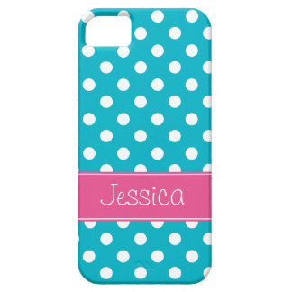 Preppy Pink and Teal Blue Polka Dots Personalized Case For The iPhone 5